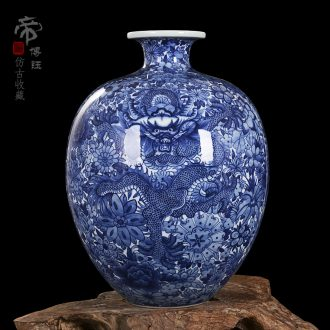 Jingdezhen ceramics yongzheng style antique blue and white porcelain vases, antique collectibles household study pomegranate bottle furnishing articles