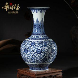 Jingdezhen ceramics vase furnishing articles antique hand-painted blue and white porcelain bottle of blue flower arrangement sitting room adornment gift porcelain