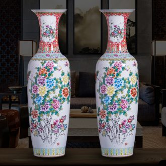 Jingdezhen ceramic hand-painted pastel of large vase peony is Chinese style living room office furnishing articles ornament