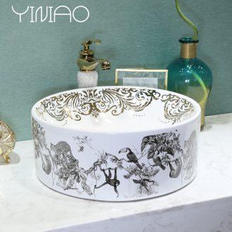Million birds Jane European art stage basin basin ceramic lavatory animal world toilet basin on the sink