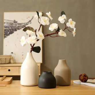 Japanese zen household act the role ofing is tasted handmade flower adornment place black and white ceramic vases, three-piece suit blossoms