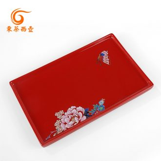 East west tea pot of ceramic wedding gift wedding festival tea tray tray tea dry red glaze rectangle plate tea to serve