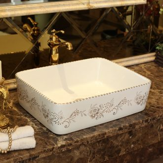 Jingdezhen ceramic art rain spring stage basin rectangle rectangle phnom penh lavatory bathroom sink