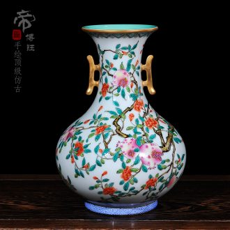 Archaize of jingdezhen ceramic vase pastel qianlong vase ears mesa collection process home furnishing articles in the living room