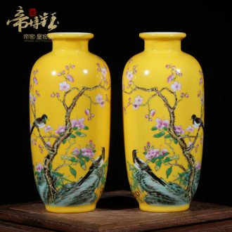 Jingdezhen porcelain furnishing articles yellow glazed colored enamel hand-painted ceramic vase and flowers and birds take floret bottle of flower restoring ancient ways