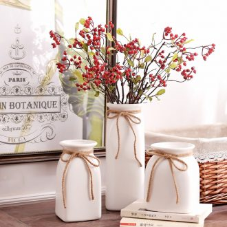 Jingdezhen ceramic contracted white rope vase small pure and fresh and dried flowers flower arrangement sitting room home furnishing articles