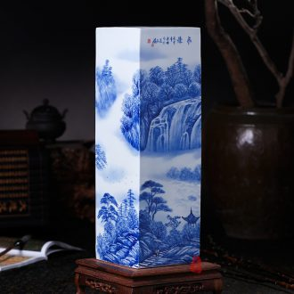 Jingdezhen ceramics hand-painted waterfall landscape painting and calligraphy master cylinder quiver large vases, study of office furnishing articles
