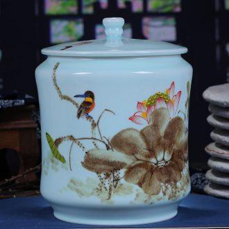 Jingdezhen chinaware lotus tea cake tin general large contracted white tea cake box of tea cake box