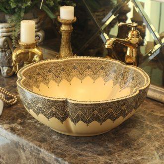 Handmade ceramic stage basin art circle petals European archaize toilet lavatory sink to restore ancient ways