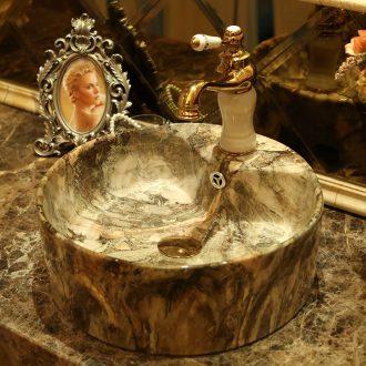 Spring rain ceramic art stage basin bathroom round European archaize lavabo contracted household bathroom sinks