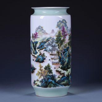 Jingdezhen ceramics green glaze landscape of large vases, flower arranging new Chinese style living room TV ark adornment furnishing articles