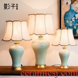 Ceramic table lamp full copper American general yellow cans hotel lobby large sitting room bedroom berth lamp 1051 study