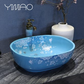 Million birds sinks on the ceramic basin sink rectangular ceramic art basin household contracted water basin