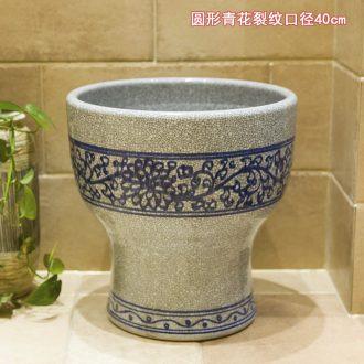 Koh larn, qi ceramic art basin mop mop pool ChiFangYuan one-piece mop pool blue and white crack diameter 40 cm