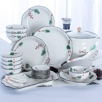 Eat bowl chopsticks dishes suit household 4/6 people jingdezhen ceramics plate combination 2 Japanese contracted tableware