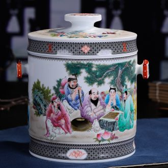 Jingdezhen ceramic hand-painted caddy large puer tea pot box general household handmade quality restoring ancient ways