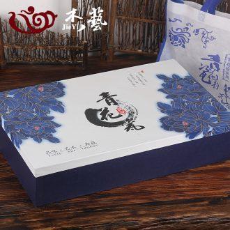 Jade art of jingdezhen blue and white porcelain tea set special gift box and gift bag tea gift box empty box