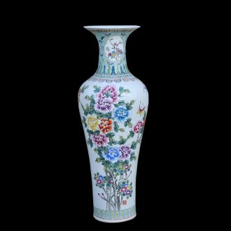 Jingdezhen ceramic of large vases, antique hand-painted famille rose blooming flowers goddess of mercy bottle of large vase
