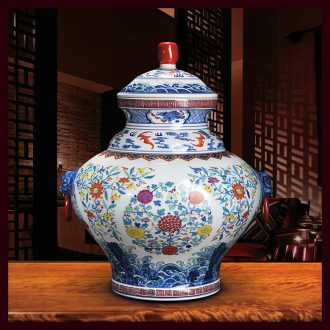 Antique hand-painted porcelain of jingdezhen ceramics general bucket color binaural pot cover household crafts are sitting room