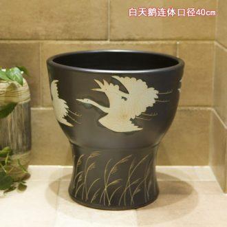 Koh larn, qi ceramic art basin mop mop pool ChiFangYuan one-piece mop pool diameter 40 cm white swan