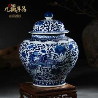 Jingdezhen ceramic vases, antique hand-painted longfeng general put lotus flower pot cover of blue and white porcelain porcelain flowers, furnishing articles
