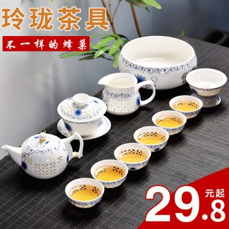 Gorgeous young creative household and exquisite ceramic kung fu tea set tea tray tureen teapot tea cup contracted with tea