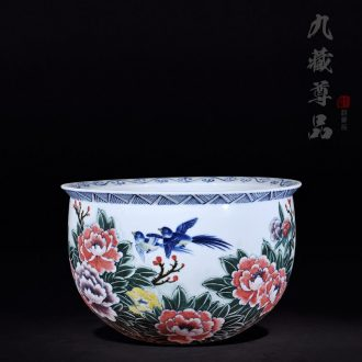 "Master of jingdezhen ceramics Cao Wen players draw vase ""cornucopia"" home furnishing articles in the living room"