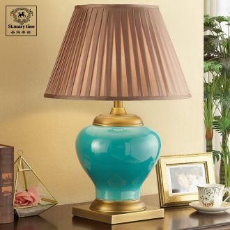 Santa marta tino full copper ceramic warm light American contracted sitting room lamp atmospheric luxury hotel large pure copper desk lamp