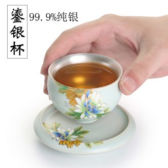 999 sterling silver cup of household ceramic cups coppering.as ru kiln owners silver cup single cup kung fu tea tea bowl