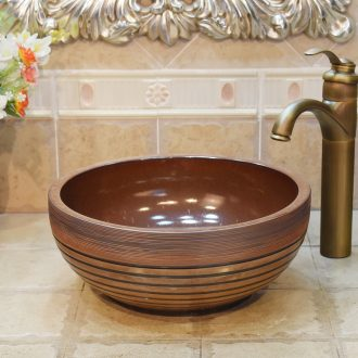 JingYuXuan ceramic art basin sink bathroom basin ancient black coil small 35 cm lavatory