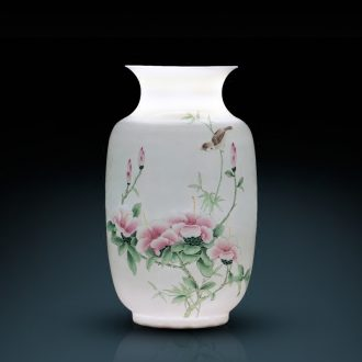 Jingdezhen ceramics famous hand-painted enamel vase thin foetus rich ancient frame sitting room adornment of Chinese style household furnishing articles