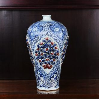 Jingdezhen ceramics antique blue-and-white youligong pinch flower plum bottle vase household craft sitting room adornment furnishing articles