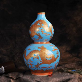 Jingdezhen ceramics archaize to the colour blue dragon home sitting room place gourd vases, modern arts and crafts