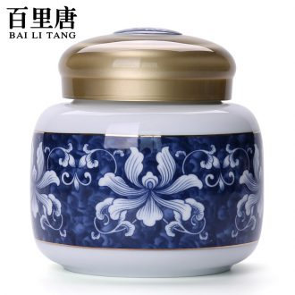 Thyme tang household ceramic tea pot with cover POTS of blue and white porcelain tea boxes tea barrel wake receives storage tanks
