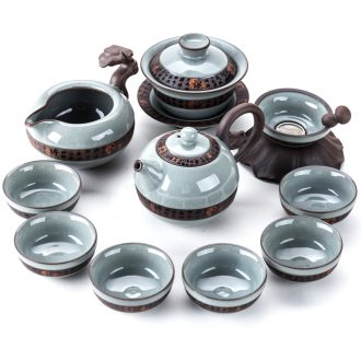 Bin's elder brother kiln kung fu tea sets tea cups of a complete set of household ceramic teapot open a piece of ice to crack glaze porcelain gift boxes