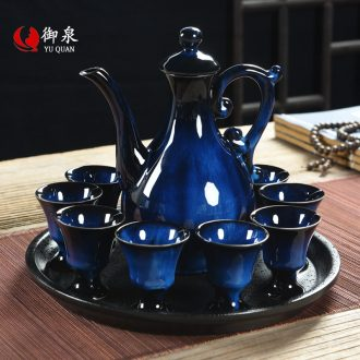 Imperial springs of jun porcelain wine suits ceramic household wine liquor cup archaize points hip flask method of small wine goblet