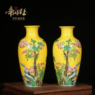 Jingdezhen ceramic mini floret bottle opener furnishing articles antique hand-painted painting of flowers and yellow enamel enamel vase gift