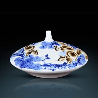 Famous master of jingdezhen ceramics hand-painted gold rat blue and white porcelain vase prosperous wealth sitting room adornment handicraft furnishing articles