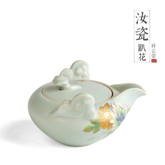Three-dimensional lie prone to spend your kiln teapot tea art kung fu tea set hand grasp pot of household ceramic teapot filter single pot