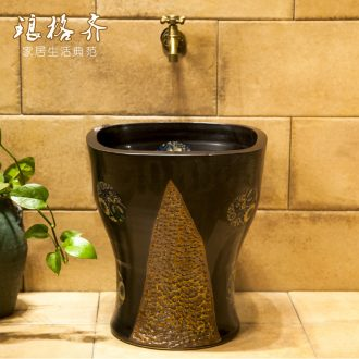 Koh larn, qi ceramic art basin balcony mop mop pool ChiFangYuan mop pool diameter 40 cm jump cut stone yellow