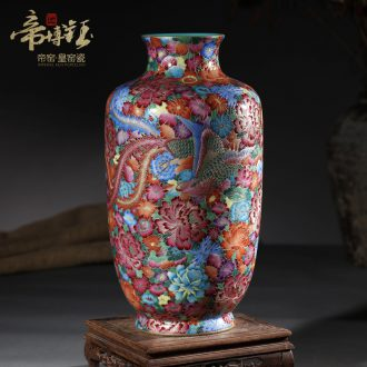 Jingdezhen ceramic antique hand-painted colored enamel longfeng wanna wear vase furnishing articles sitting room decoration home decoration process