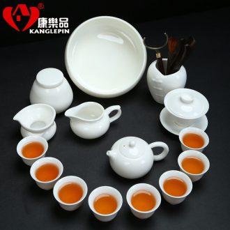 Recreational taste traditional kung fu tea set suit white porcelain teapot teacup ceramic GaiWanCha the whole household