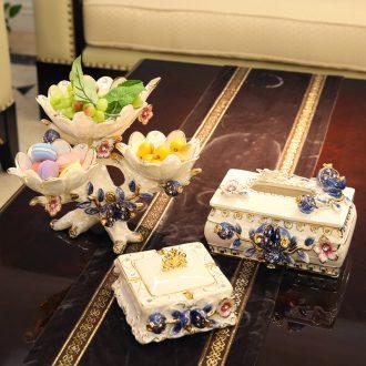 European ceramic fruit bowl suit tissue box ivory porcelain ashtrays palace sitting room tea table three-piece furnishing articles
