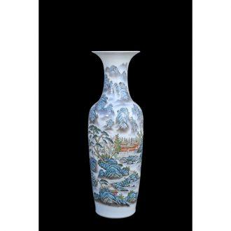 Jingdezhen ceramic vases, antique hand-painted landing pastel landscape of large vase household adornment furnishing articles