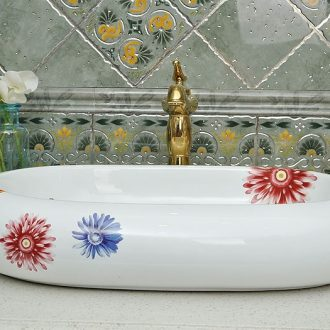 JingYuXuan jingdezhen ceramic lavatory sink basin basin art stage basin oval seven-color flower