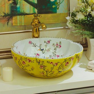 Ceramic art stage basin round hand petals household balcony lavatory toilet stage basin sink color