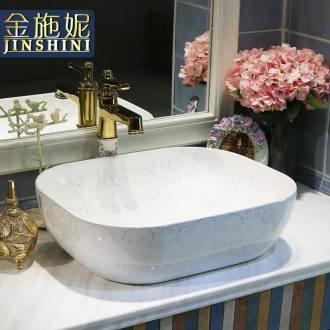 Gold cellnique jingdezhen ceramics stage basin sink art Europe type lavatory catkin of the basin that wash a face