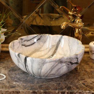 Petals rain spring on the ceramic basin sink European art of the basin that wash a face basin antique bathroom sinks