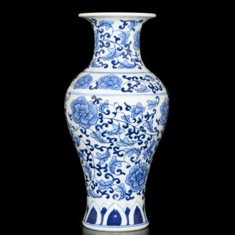 Jingdezhen ceramic manual hand-painted under glaze blue and white porcelain vase color archaize sitting room small handicraft rich ancient frame furnishing articles