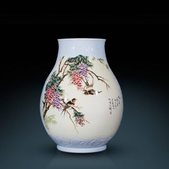 Jingdezhen ceramics engraving the cone Angle of large vases, sitting room of Chinese style household decorations porch several furnishing articles